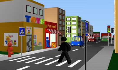 belebte Straße mit einem Fußgängerüberweg, Geschäften und Bahnübergang.