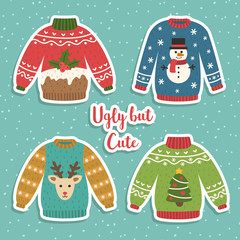 Cute set of ugly Christmas sweaters. Vector illustrations. Funny traditional knitted clothes with different prints deer, cake, snowman, Christmas tree