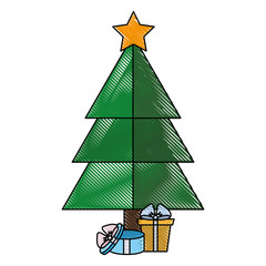 christmas tree with gift boxes icon over white background vector illustration