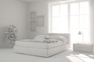 Idea of white miimalist bedroom. Scandinavian interior design. 3D illustration