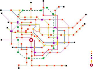 Fictional subway map, public transportation, map, free copy space