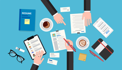 Audit meeting, top view of a desk with notepad, documents, reports, smartphone, pens and pencils. Vector illustration in flat style, template for business
