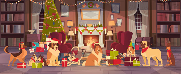 Dogs In Santa Hats In Living Room With Decorated Pine Tree, Merry Christmas And Happy New Year Holiday Poster Design Flat Vector Illustration