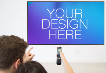 Couple Watching Television Mockup