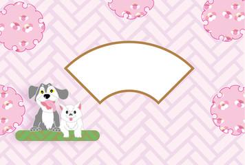 犬と猫のピンクの和風花柄の写真フレームはがきテンプレート