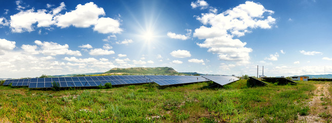 Solar panels, photovoltaic - alternative electricity source - panoramic view
