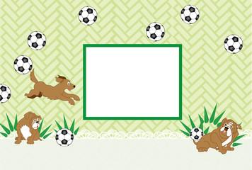 犬のとサッカーボールの写真フレームはがきテンプレート