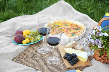 Aluminium Prints Picnic Delicious food for picnic and glasses of wine outdoors