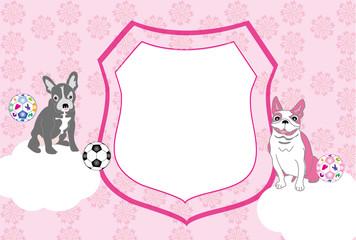 可愛いピンクの犬とサッカーボールのエンブレム型写真フレームの葉書テンプレート