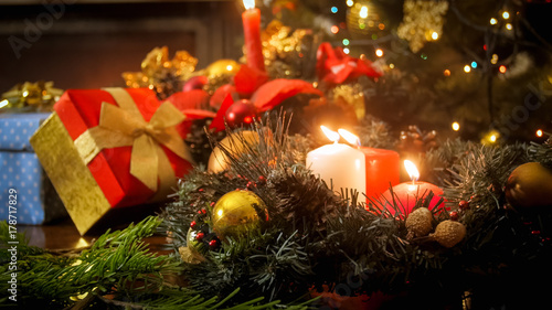 beautiful christmas ornaments on table perfect background for winter holidays - Beautiful Christmas Ornaments