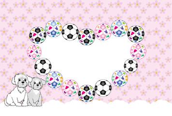 可愛い白い犬とサッカーボールの花模様の写真フレームの葉書テンプレート