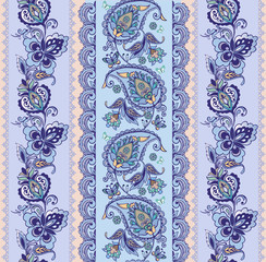 Luxury oriental striped seamless ornament with paisley. Blue seamless paisley pattern. Floral wallpaper. Decorative ornament for fabric, textile, wrapping paper.