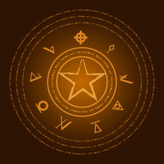 Occult symbols. Mark of the Devil. Ezotreic pictogram. Vector illustration