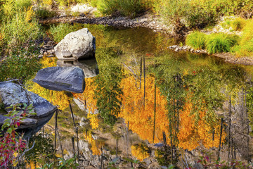 Fall Colors Fire Reflection Wenatchee River Valley Washington