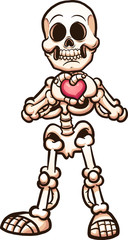 Cartoon skeleton making a heart with its hands. Vector clip art illustration with simple gradients. All in a single layer.