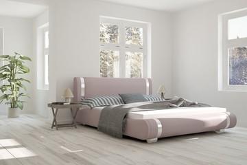 Inspiration of white bedroom with winter landscape in window. Scandinavian interior design. 3D illustration