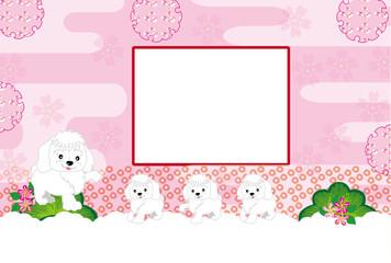 可愛い犬の親子の写真フレームのピンクの葉書テンプレート