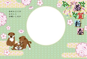柴犬の子犬と梅の花の写真フレームの戌年の年賀状テンプレート