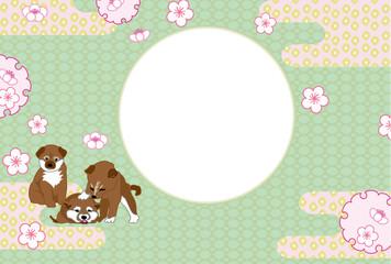 柴犬の子犬と梅の花の写真フレームの和風葉書テンプレート