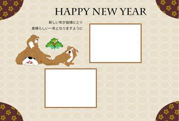 犬の写真フレームの和風ポップな年賀状テンプレート