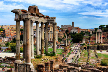 Temple of Saturn closeup at the Roman Forum at daytime, Rome, Italy