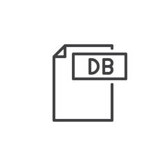 Db format document line icon, outline vector sign, linear style pictogram isolated on white. File formats symbol, logo illustration. Editable stroke