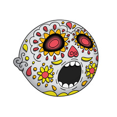 Halloween. Emoji Astonished. Day of the Dead. Dia de Los Muertos. Vector Illustration