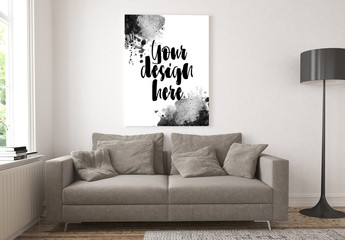 Poster in Living Room Mockup
