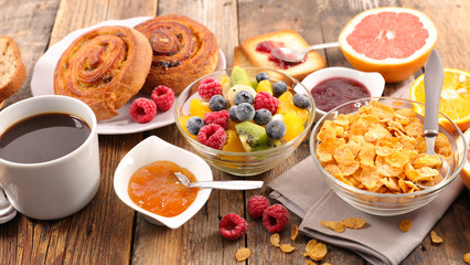 healthy breakfast with coffe,cereal and fruit