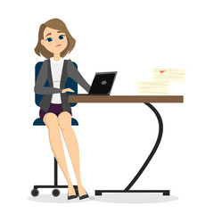 Isolated sitting businesswoman.