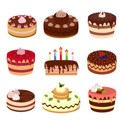 Cakes illustrations set.