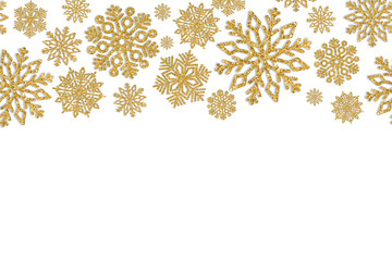 Christmas frame with gold snowflakes. Border of sequin confetti. Glitter powder sparkling background