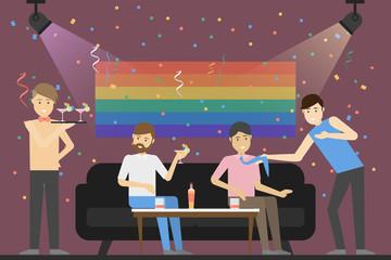 Gay party at bar.