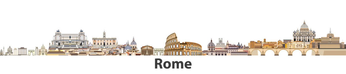 Fototapete - Rome vector city skyline