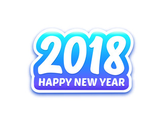 Happy New Year 2018 paper label with typography isolated on white background. Vector carving art style illustration for sticker or greeting card for chinese year of the dog