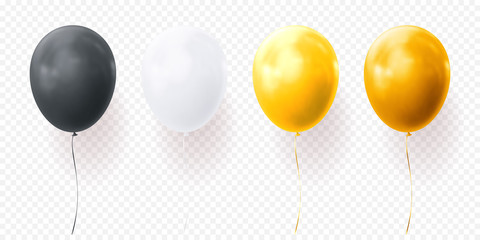 Colorful balloons vector on transparent background. Glossy realistic yellow, black and white glossy baloons for Birthday party illustration or greeting card design element