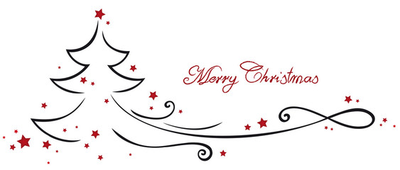 Banner Merry Christmas with fir tree graphic