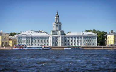 Facade of the Kunstkamera Museum, facing Winter Palace on the Neva River, iconic landmark of St. Petersburg, Russia