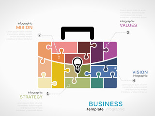 Business infographic template with suitcase symbol made out of jigsaw pieces