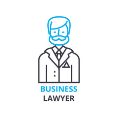 Business lawyer concept , outline icon, linear sign, thin line pictogram, logo, flat illustration, vector