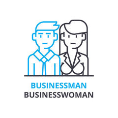 Businessman, businesswoman concept , outline icon, linear sign, thin line pictogram, logo, flat illustration, vector