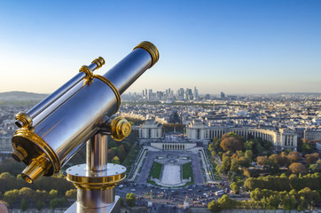 FRANCE, PARIS - 14 OCTOBER 2017. Eiffel Tower telescope overlooking for Paris.