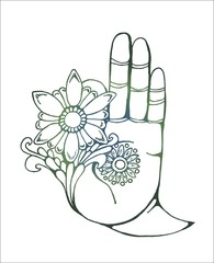 Illustration of a buddha hand holding a flower. Colorfull drawing.