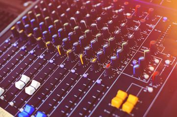 DJ mixing studio in the club stage light
