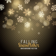 Gold christmas winter snowflakes background. Vector illustration.