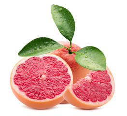 grapefruits with slices isolated on a white background