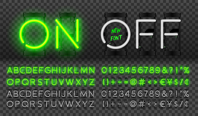 Big green neon set, glowing alphabet, vector Font. Glowing text effect. On and Off lamp. Neon Numbers and punctuation marks. isolated on transparent background.