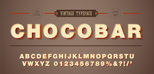 Vector of vintage font and alphabet. 3d style