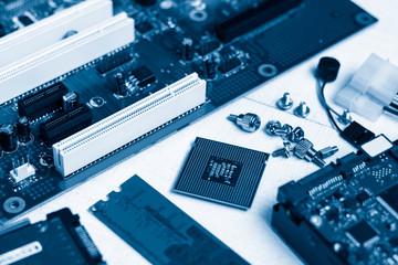 Electronics computer components. Toned blue.