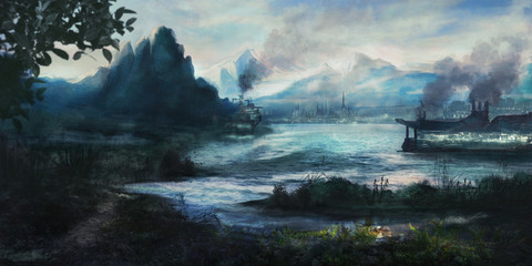 Painting of an idyllic landscape with an imaginary city